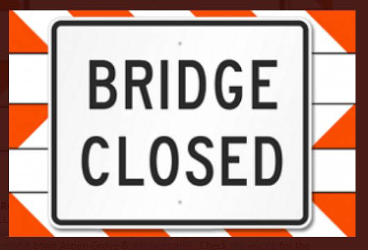 The bridge on Trinity Valley Road between Miska Road and Frederick Road east of Enderby is closed due to an emergency. The bulletin was put out by AIM Roads late Monday afternoon. There is no estimated time of reopening. Check DriveBC for updates. (Photo submitted)