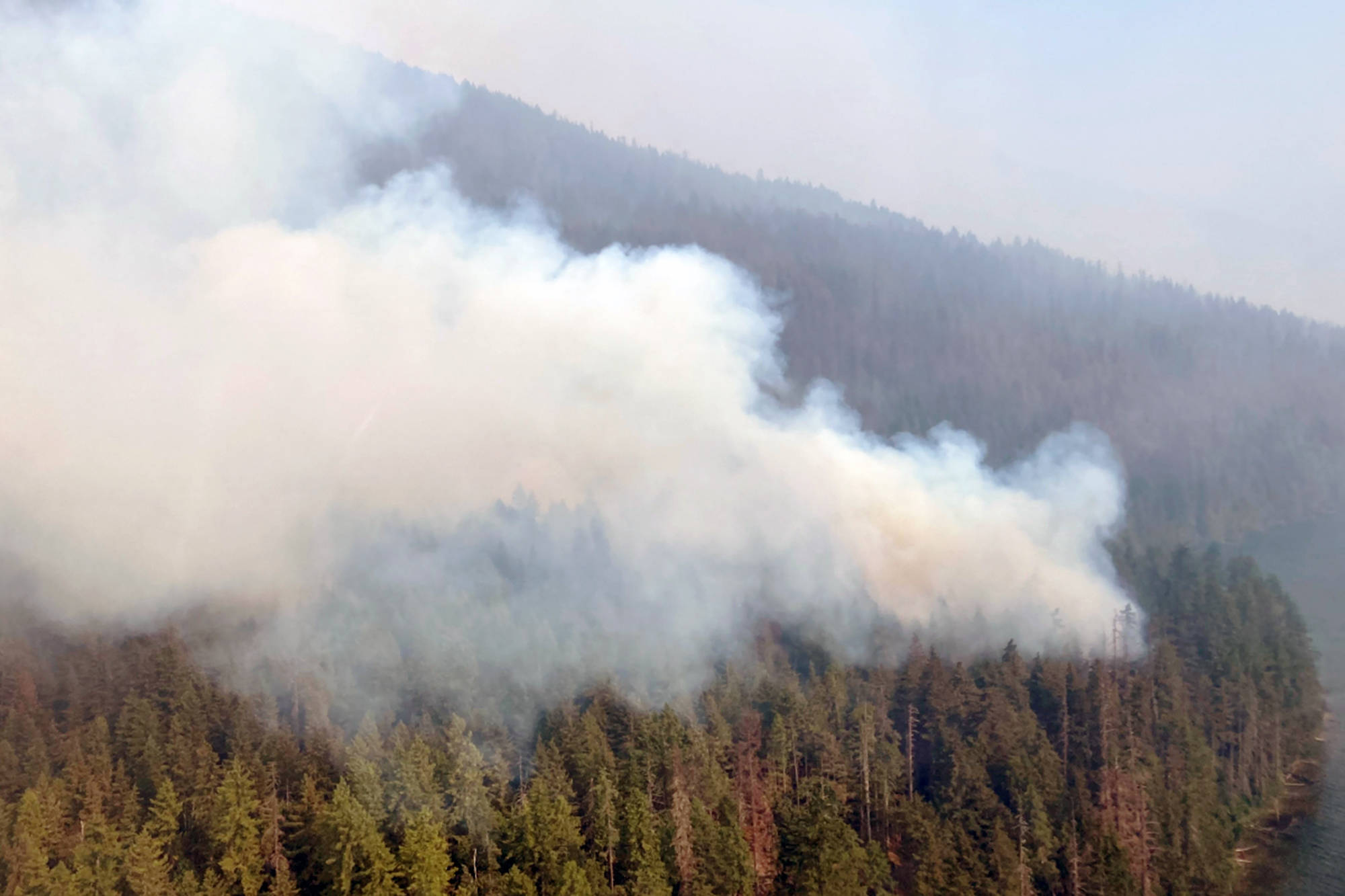 Wildfire conditions at Hunakwa Lake have prompted an evacuation alert for Seymour Arm. (CSRD image)