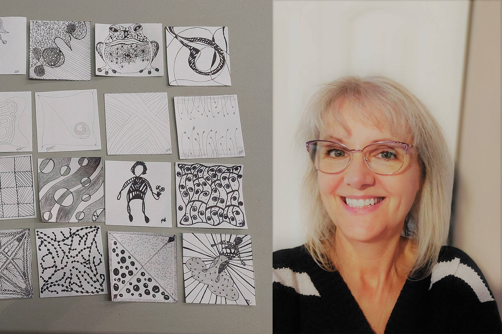 Diana Blake, pictured, leads the Eagle Valley Arts Council's new Evening Art Group. Its first meeting on Sept. 28, 2021, saw attendees create the drawings shown here. (Contributed)